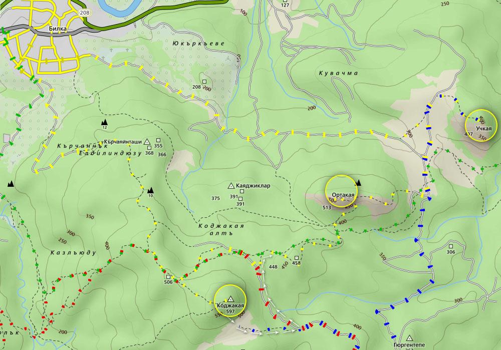 Маршрут Трите Каи - карта